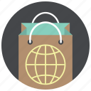 bag, globe, paper bag, shop, shop worldwide, shopping, world icon