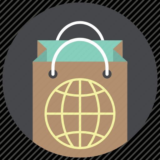bag, globe, paper bag, shop, shop worldwide, shopping, world icon