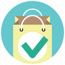 approve, bag, buy, gift bag, paper bag, shop, shopping icon