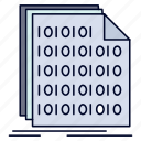 binary, code, coding, data, document icon