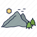 hill, landscape, mountain, nature, scene icon