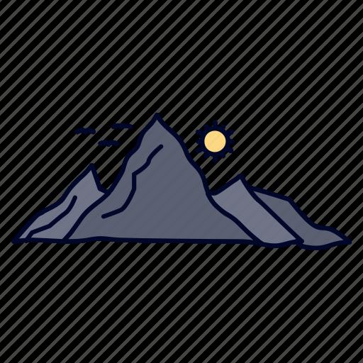 hill, landscape, mountain, nature, sun icon