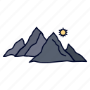 hill, landscape, mountain, nature, sun icon