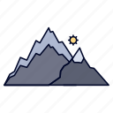 hill, landscape, mountain, nature, tree icon