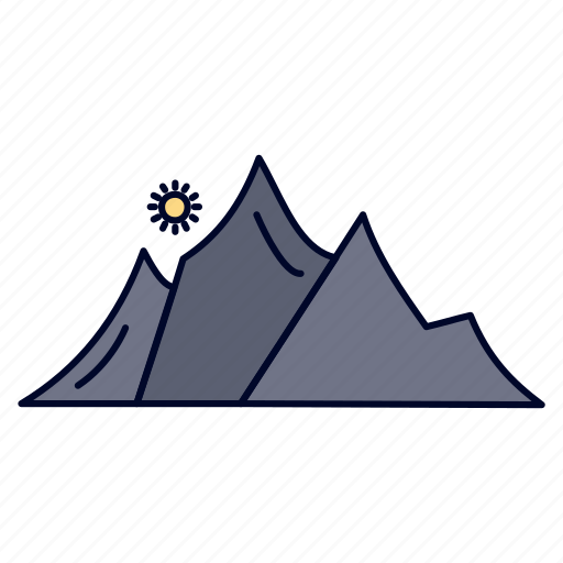 Hill, landscape, mountain, nature, sun icon - Download on Iconfinder