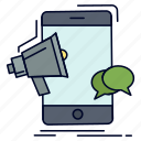 bullhorn, marketing, megaphone, mobile, promotion icon