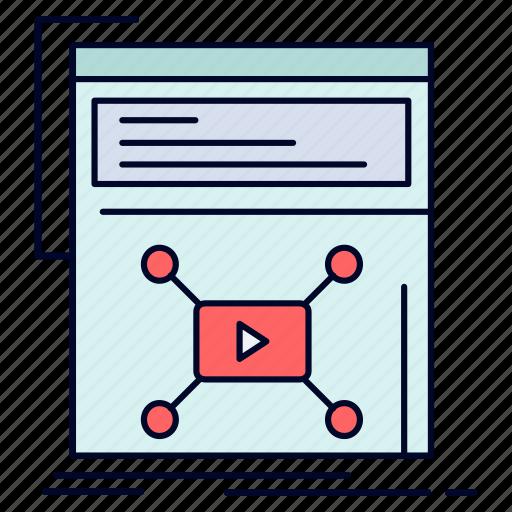 marketing, page, video, web, website icon