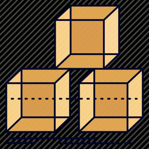 3d, arrange, box, design, stack icon