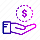 cash, coin, dollar, hand, investment, money, saving icon