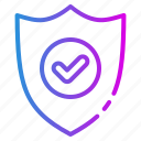 accept, brand, checkmark, protect, safe, secure, shield icon
