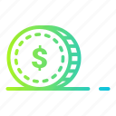 cash, coin, currency, dollar, finance, gold, money icon