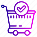 bag, cart, checkmark, complete, ecommerce, ok, shopping icon