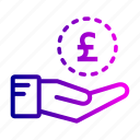 cash, coin, hand, investment, money, saving icon