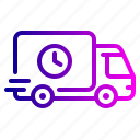 delivery, logistics, shipping, time, truck icon