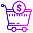 bag, cart, checkmark, complete, dollar, ecommerce, shopping icon