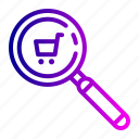 find, search, shopping, trolly icon