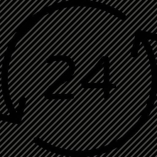 clock, customer service, customer support, full service, twenty four hours icon