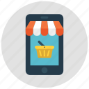 basket, cart, mobile, mobile shopping, shop, shopping, shopping basket icon icon