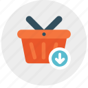 arrow, basket, down, download, shop, shopping icon icon