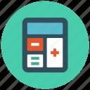 accounting, budget, calculate, calculator, finance, math, mathematics icon icon