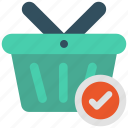 basket, check, select, shopping icon icon