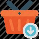 arrow, basket, down, download, shop, shopping icon icon