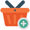 add, add to basket, add to cart, basket, cart, shop, shopping basket icon icon