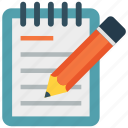 document, note, notepad, pencil, writing pad icon icon