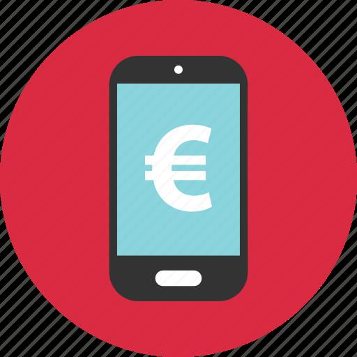 euro, mobile, sign icon