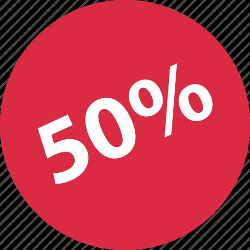 fifty, half, off, shop icon
