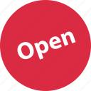 open, sign, tag icon