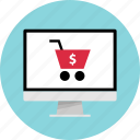 addtocart, dollar, pc, shop icon