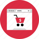 cart, dollar, online, shopping
