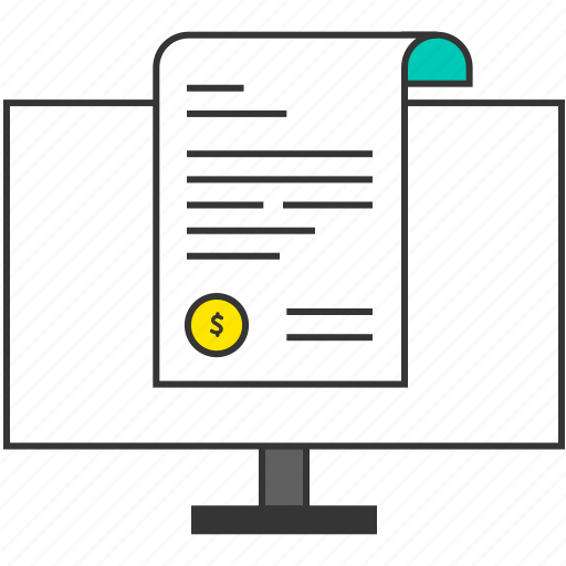 bill, business, document, ecommerce, file, monitor, pc icon