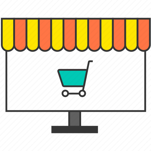 ecommerce, market, monitor, pc, shopping cart, shopping trolley, store icon