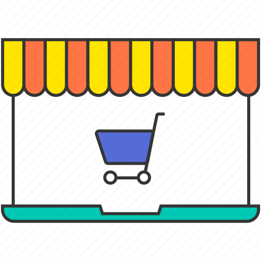 cart, ecommerce, laptop, market, shopping cart, shopping trolley, store icon