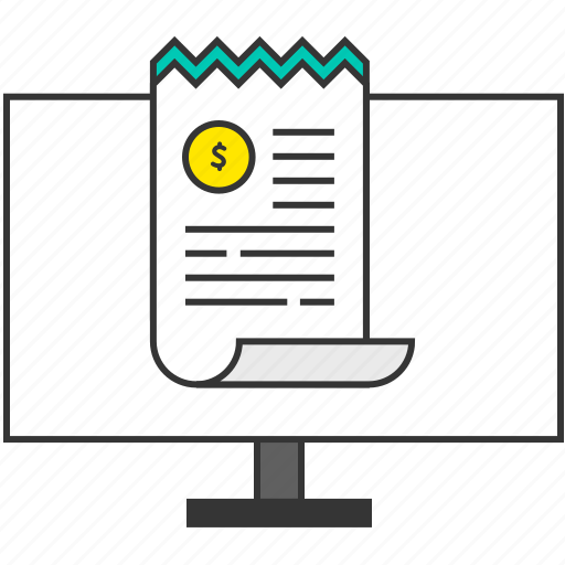 bill, buy, computer, ecommerce, monitor, receipt, smart payment icon