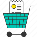 bill, buy, cart, ecommerce, receipt, shopping cart, shopping trolley icon