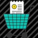 bill, buy, cart, ecommerce, receipt, shopping cart, shopping trolley