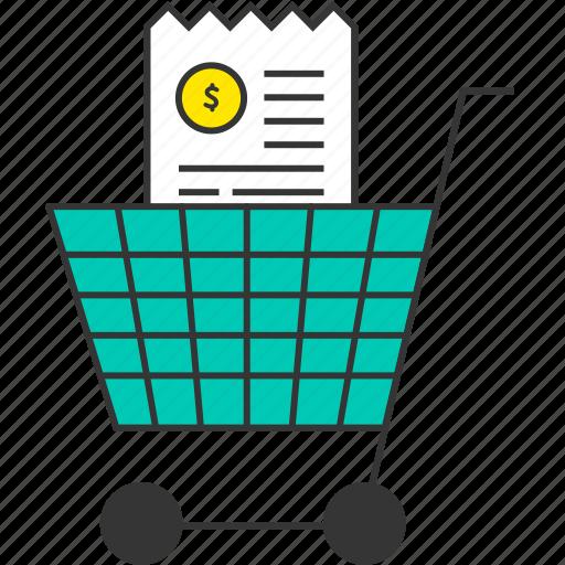 bill, buy, cart, ecommerce, receipt, shopping cart, shopping trolley icon