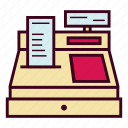 buy, cash, cash box, cash register, pay, register, shopping icon