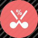 cut percentage, discount, financing, mitigate, price reduction, sale concept, scissor icon