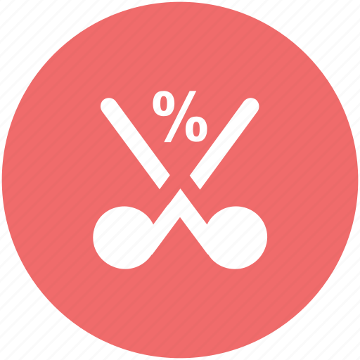 cut percentage, discount, financing, mitigate, price reduction, sale concept, scissor icon