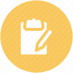 blank sheet, clipboard, edit, message, pen, task, writing icon