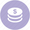 cash, coins stack, currency, dollar coins, finance, money
