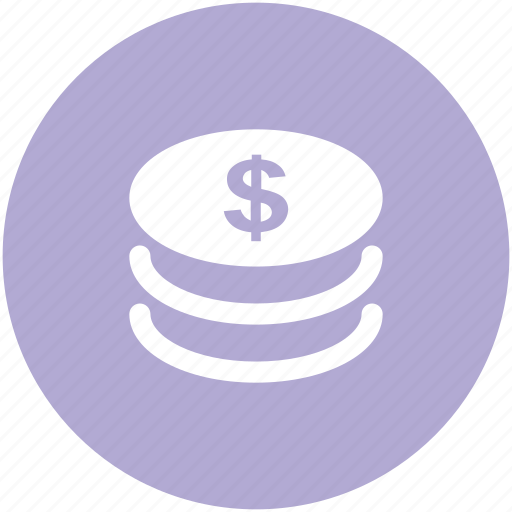 cash, coins stack, currency, dollar coins, finance, money icon