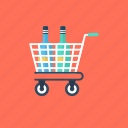 shopping cart, shopping trolley, beverage bottles, ecommerce, grocery shopping icon