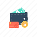 wallet, wallet money, purse, billfold, pocketbook icon
