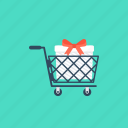 buy online, ecommerce, gift shopping, shopping cart, shopping trolley icon
