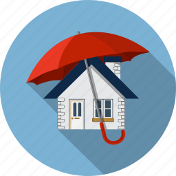 building, estate, home, protection, real, security, umbrella icon